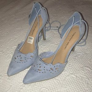 Baby blue ankle wrap pumps